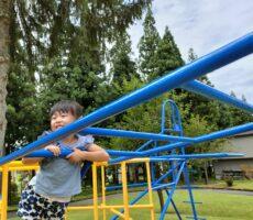 作品No:63 良い眺め♪<br><br>夏の暑さも忘れるくらい、桂公園の遊具に夢中になる娘。この飛行機もそのひとつ。大きな木に囲まれた飛行機からの眺めに、「わ〜!」と思わず歓声をあげていました。<br><br>