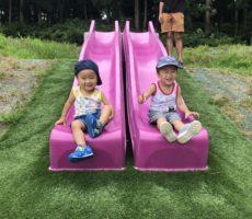 <strong>作品No:43 なかよしきょうだい</strong><br><br>初めての公園<br /> ちょっと場所見知りする長男も2人一緒なら楽しめる♡並んだ滑り台は楽しかったみたいです
