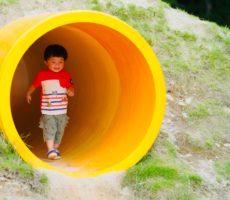 <strong>作品No:46 桂公園の黄色いトンネルを抜けると、、</strong><br><br>恐る恐る入って行きましたが、笑顔でトンネルを抜けて来てくれました。