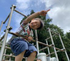 <strong>作品No:26 新しい景色</strong><br><br>大好きな桂公園。この日はお盆でゴーカートがお休みだったので遊具であそぶことに。今まで怖くて登れなかったジャングルジムでしたが、この日は上の方まで登れた!「ママみてー!!なにあれー!」と上から見る景色に新しい発見があったようです。これからもいろんなことに挑戦して